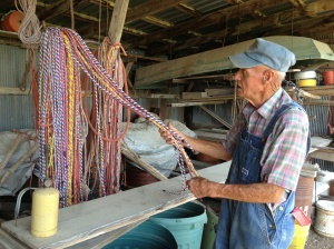 Bud Wiggins makes ropes from recycled baling twine with an old fashioned rope maker.  Beautiful and functional.